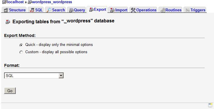 Exporting the MySQL database.