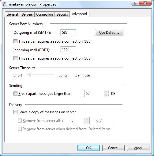 mail.example.com Properties