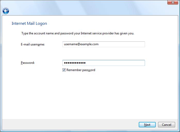 Internet Mail Logon