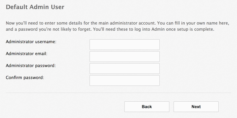 Default Admin User