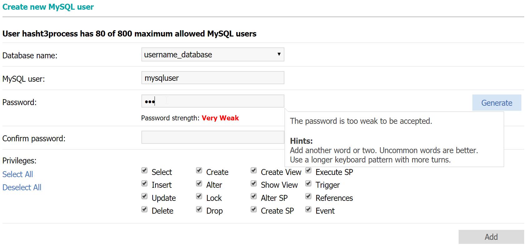 Create new MySQL user