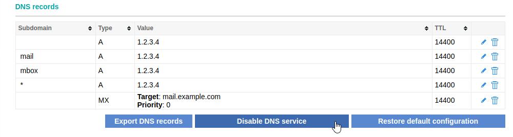 Disable DNS