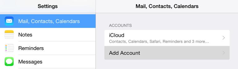 Натиснете Mail, Contacts, Calendars