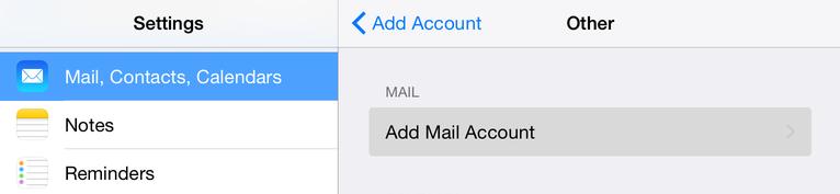 Натиснете Add Mail Account